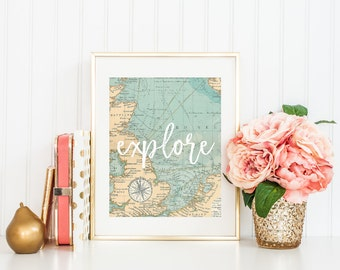 Explore Vintage Map Printable Sign, Travel Adventure Map Print, Wall Decor Printable Digital Wall Art Template, Instant Download, 8x10