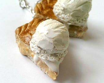 Apple pie ala mode charm, keychain , necklace,  Food jewelry, Miniature Food Charms, Bakery Gift