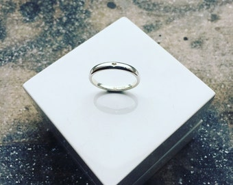 Silver Tapered HEART Ring