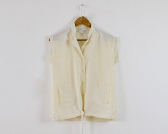 Vintage 80s Cream Blouse  |  80s Style Sports Bouse  | Sleeveless Cotton Top