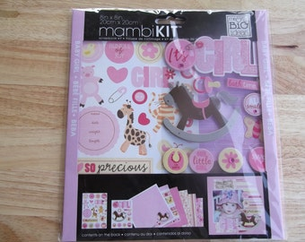 Baby Scrapbook Kit 8in x 8in Mambikit by me and my big ideas. Baby Girl Pink. Item is new.