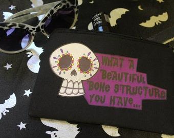 Black Skull Make Up Bag, Sugar Skull, Small Bag, Gothic bag, Horror Gift, Day of The Dead, Horror Bag, Small Gift, Creepy Cute, Fun