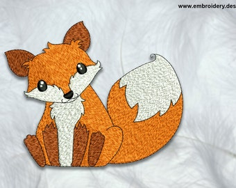 Clever fox embroidery design – 3 sizes - downloadable