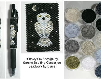 Snowy Owl by Sarahs Beading Obsession beaded pen kit (pattern sold separately)