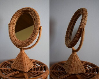 Vintage Boho Chic Wicker Mirror, Antique Vanity Mirror on Stand, Tabletop Mirror