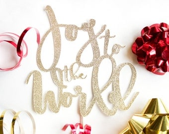 Joy to the World Christmas Cake Topper // Christmas Party Decor // Holiday Party Decoration // Holiday Party // Christmas Decor // Gold Cake