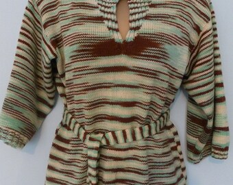 Vintage 1970s Brown/Lime Knit Tunic Top. Size 12/14