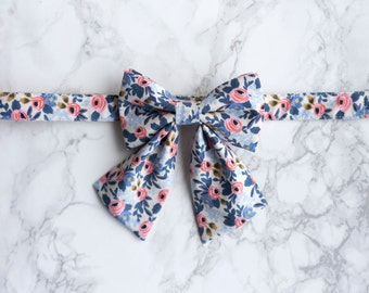 Bow Collar | Rifle Paper Co Les Fleurs Pastel Blue | Dog & Cat