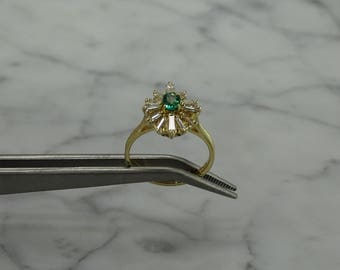 Emerald/Diamond/14K Gold Ring ( size 6.25)