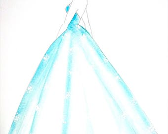 Light Blue- Original Watercolor