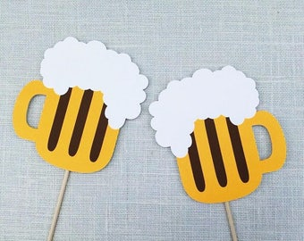 Beer Mug Photo Booth Props - Wedding - Birthday Party Photo Props - Party Supplies - Photobooth Props - Beer Props - FULLY ASSEMBLED - 2 Pc