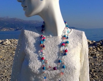 Summer necklace, beaded necklace, chunky necklace, multistrand necklace, colorful necklace, polymer clay, gift for woman, gift for friend
