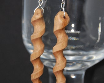 Slender Hand Carved, one of a kind, Blackthorn Wood Earrings