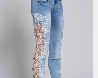 Skinny Jeans with Lace Sides Festival Light Blue and White Lace Inserts Jeans Boho Bohemian Jeans Hollow out Jeans