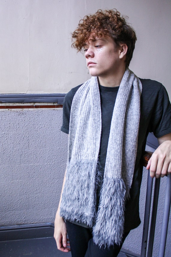 Knitted Rib Scarf with Luxury Faux Fur Trim, Silver