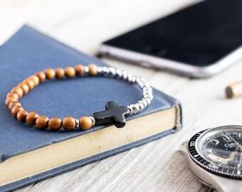 4mm - Stainless steel & sandalwood beaded stretchy bracelet with black cross, custom bracelet, mens bracelet, beaded bracelet