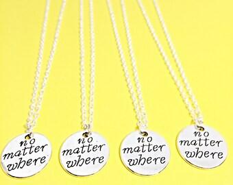 4 Set,No matter where, best friend necklace - set of 4, bff jewelry, no matter where set of 4 necklace, distance, friends,4 best friends, gi