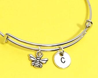 Bumblebee bangle, bee charm bracelet, Queen bee jewelry, bumble bee bracelet, custom bee jewelry, personalized,initial, honey bee,  gift