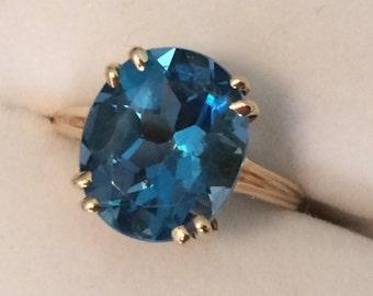Large Oval London Blue Topaz Ring
