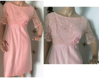 Vintage 1960s pink linen & lace garden party dress medium 327