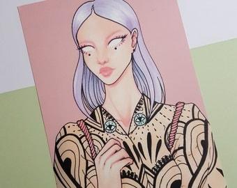 Kimono 02 - A5 Art Print - copic kimono fantasy illustration drawing, pastel