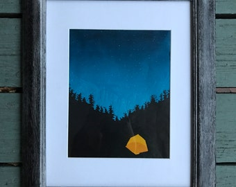 cozy glowing tent woodcut print - two variations available