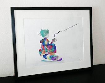 The geisha - Fine Art Giclee Print watercolor painting - Japanese art - Japanese gift