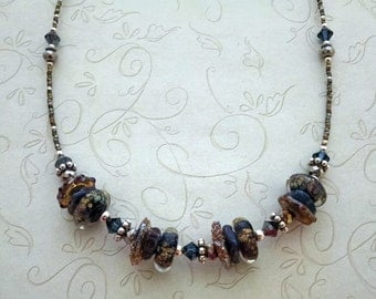 Handmade Lampwork  Beaded Necklace, Blue Disc Beads, Womens Jewelry, Sterling Silver