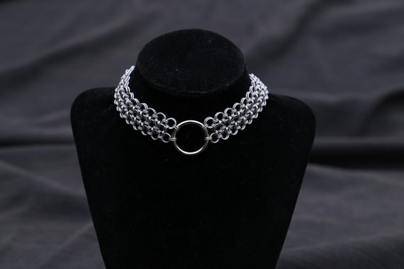 Japanese 12 in 2 Chainmaille Choker - Gothic Chainmail Choker - Viking Armor Jewelry - Metal Choker - Chain Maille Collar Choker Necklace