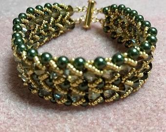 Green and Gold Braided Swarovski Bracelet