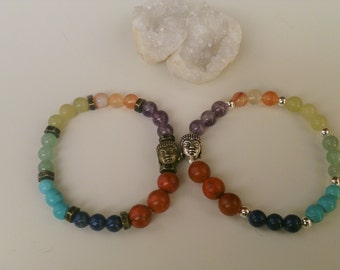 Bracelet chakras / Spiritual Balance Bracelet / Budha Bracelet/Energy Bracelet /Semi-precious stones yoga bracelet.Gemoterapy