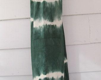 Hand-dyed cotton yoga mat bag, suji shibori, green, procion fiber-reactive dyes
