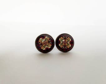 Glass stud earrings / Round glass earrings / India style earrings / India stud earrings / Round stud earrings / 12mm stud earrings