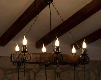 rustic chandeliers wrought iron. Rustic chandelier Wine barrel staves and wrought iron with 6 lights  Etsy