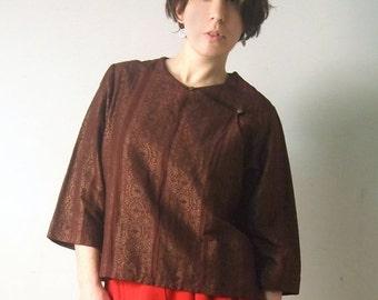 Vintage blazer Brocade Blazer April Cornell Boho Style M-SizeBrown spring blazer womens Jacket vintage Jacket Wrap Blazer Vintage jacket