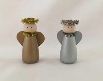 Peg Doll-Angel-Hand Painted Wooden Peg Doll-Angel Figurine-Hand Painted Wooden Peg Doll Angel