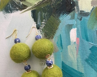 Pom Pom Earrings | CHARTREUSE, chinoiserie, apple green, green, blue and white, royal blue, Chinese, gold, beaded, dangle, pompom, bonbon