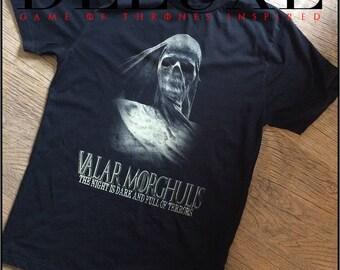 valar morghulis - game of thrones - the night is dark and full of terrors - t-shirt - horror shirt - GOT shirt - nameless city apparel