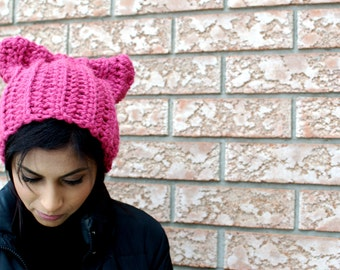 Ponytail Cat Hat - Winter Hat - Cat Lovers Hat - Cat Beanie - Pink Hat - Cat Lover Gift - Meow Hat - Ponytail Beanie - Cat Ears Hat
