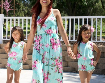 Adorable, Spring,mommy and me, matching outfits,baby girl romper,mother daughter,matching dresses, floral dresses,mothers day, gifts for her