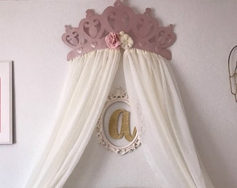 Crib Canopy, Bed Crown Rose Gold Princess Wall Decor