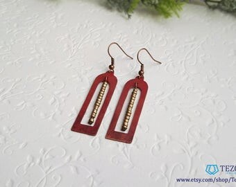 red copper dangle earrings for women