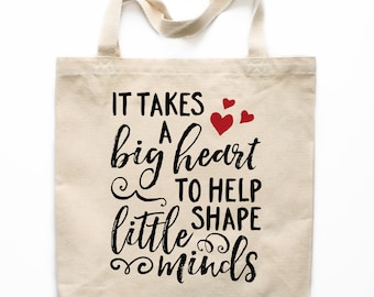 Teacher Gift, Teacher Tote Bag, Canvas Tote Bag, Big Hearted Teacher, Printed Tote Bag, Market Bag, Shopping Bag, Reusable Grocery Bag 0121