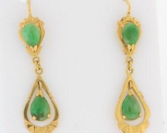 Antique Pear Cut Natural Jade Earrings- 18k Yellow Gold