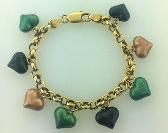 18k Gold Vermeil Heart Lacquered Charm Bracelet- Sterling Silver