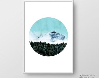 Printable Mountain Poster, Mountain Print, Nature Art Print, Nature Wall Art, Modern Home Decor, Minimalist Nature Print, Photography Art