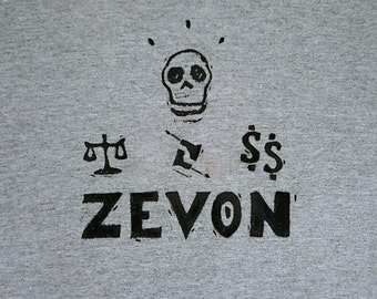 15% off! Warren Zevon Design Concert T-Shirt, Send Lawyers, Guns and Money Symbols; also avail in PINK, Lino Print, Hand Painted Details