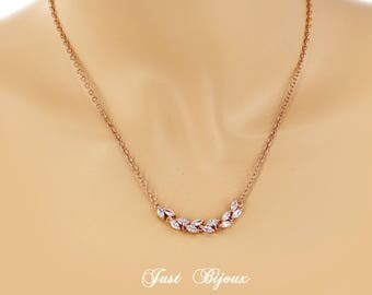 Wedding Necklace Rose gold Zirconia Necklace Best Friend Bridesmaid necklace Bridesmaid Gift Wedding Necklace Bridal Necklace Jewelry Ava