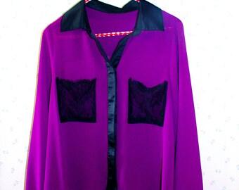 Collared Purple Long-Sleeve Sheer Shirt