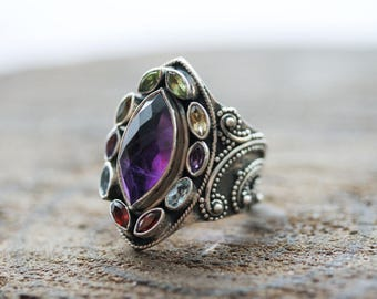 Multicolor Gemstone Antique Silver Ring, Mothers Ring 925, Filigree Design